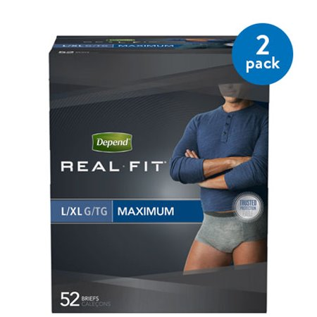 2 Pack Depend Real Fit Incontinence Underwear For Men Maximum Absorbency L