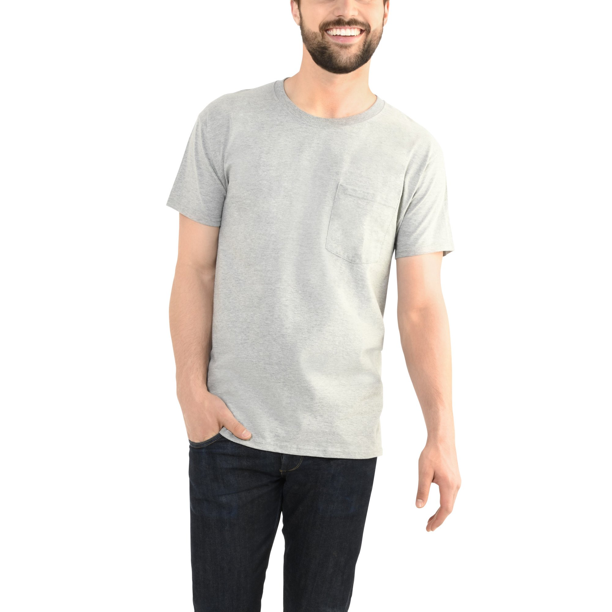 7a041741 Fruit of the Loom Men's Platinum Eversoft Short Sleeve Pocket T-Shirt, up to  Size 4XL