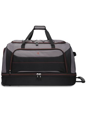 Protege 30-inch Rolling Drop Bottom Duffel, Black and Gray