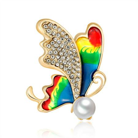 Fashionable Lovely Butterfly Shape Rhinestone Breastpin Women Elegant Jewellery Refined Brooches Silk Scarf Decoration - Silk Butterflies