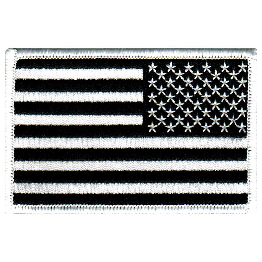 American Flag Reversed Iron-on Embroidered Patch Black White