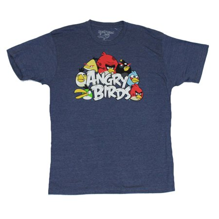 Angry Birds (Hit Mobile App) Mens T-Shirt  - Classic Birds Surrounding Logo on](T Bird Logo)