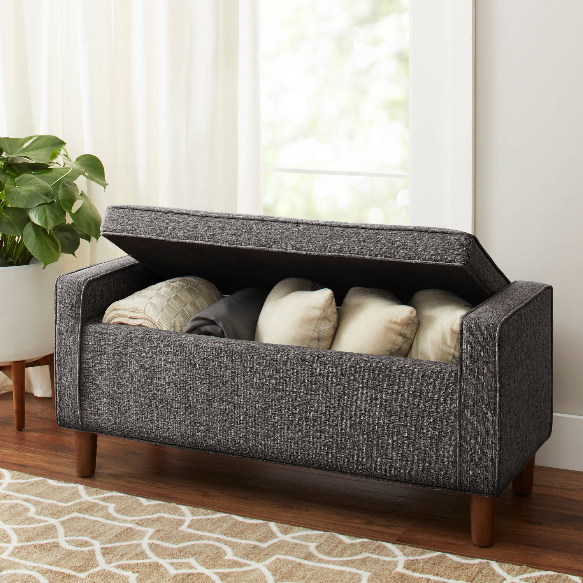 Better Homes And Gardens Flynn Mid Century Modern Upholstered Storage Bench,  Multiple Colors   Walmart.com