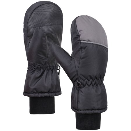 Cuffed Mittens - ANDORRA Boys Color Block Weather-Proof Thinsulate Snow Mittens, Long Snow Cuff,L,BlackGrey