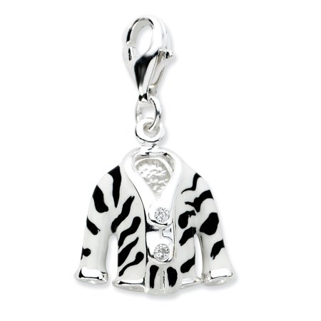 925 Sterling Silver Click On Cubic Zirconia Cz Enamel Zebra Jacket Pendant Charm Necklace Fine Jewelry Gifts For Women For Her - image 6 de 6