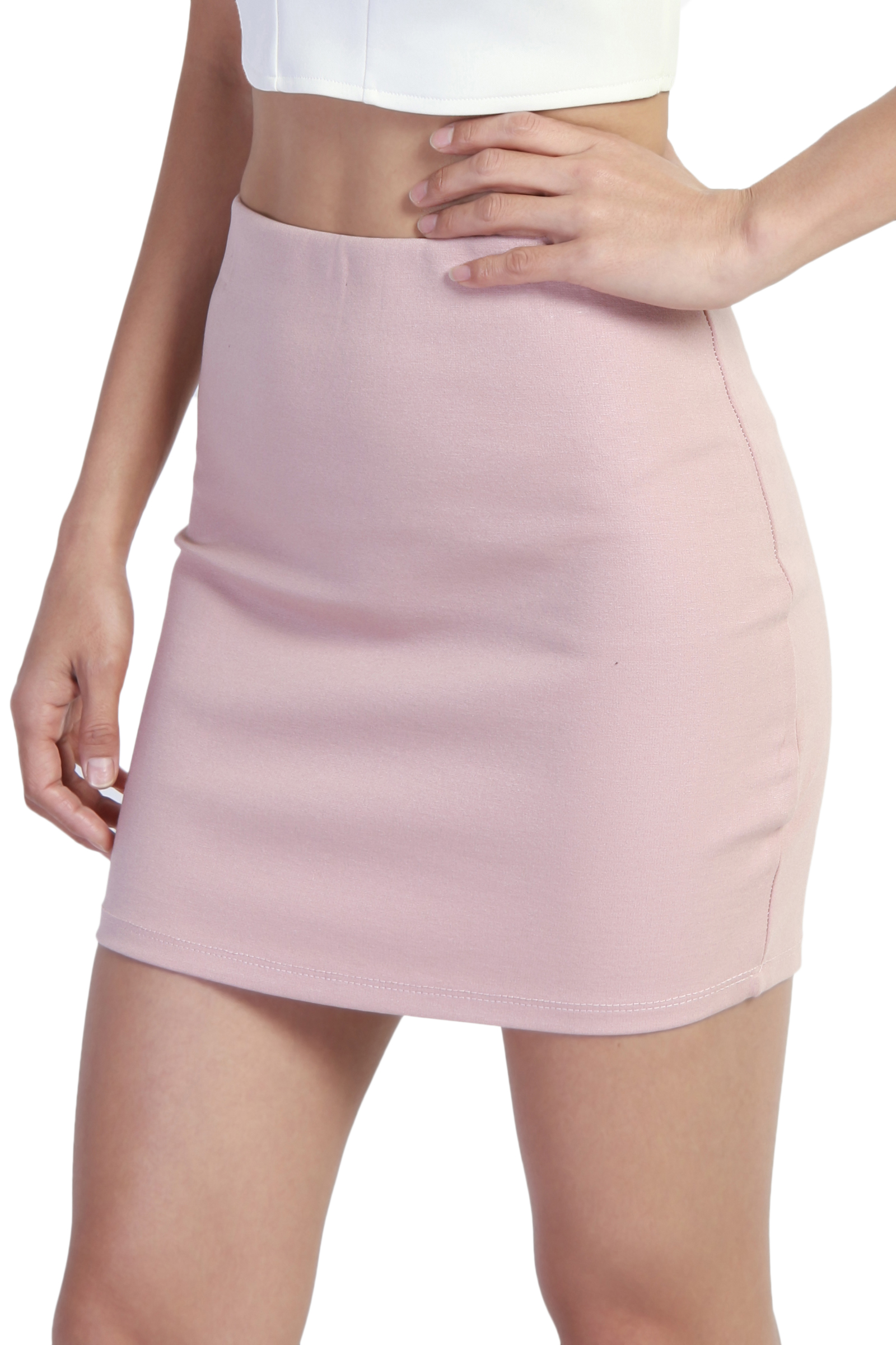TheMogan Junior's PLUS Stretch Thick Ponte Knit High Waist Bodycon Mini Skirt