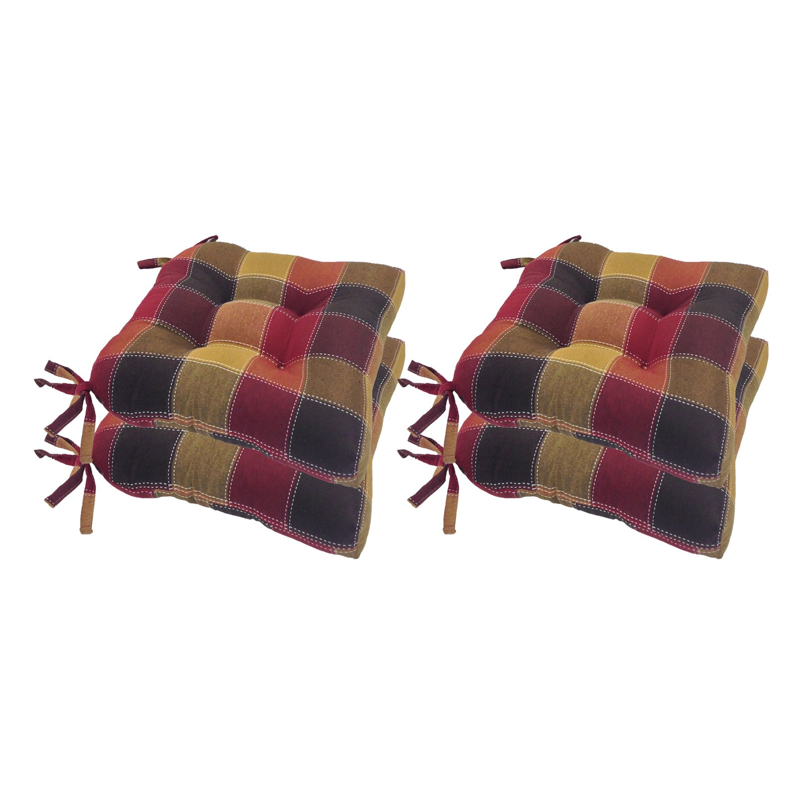 Arlee 16 x 16 in. Harris Plaid Woven Chair Pad Set of 4 by Essentials