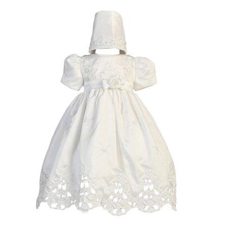Baby Girls White Shantung Cutwork Dress Bonnet Christening Set 9-12M