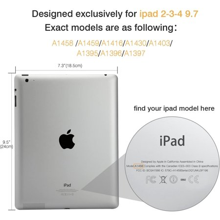 MoKo Case Fit iPad 2/3 / 4, Ultra Slim Lightweight Smart-Shell Stand Cover with Translucent Frosted Back Protector - image 1 de 4