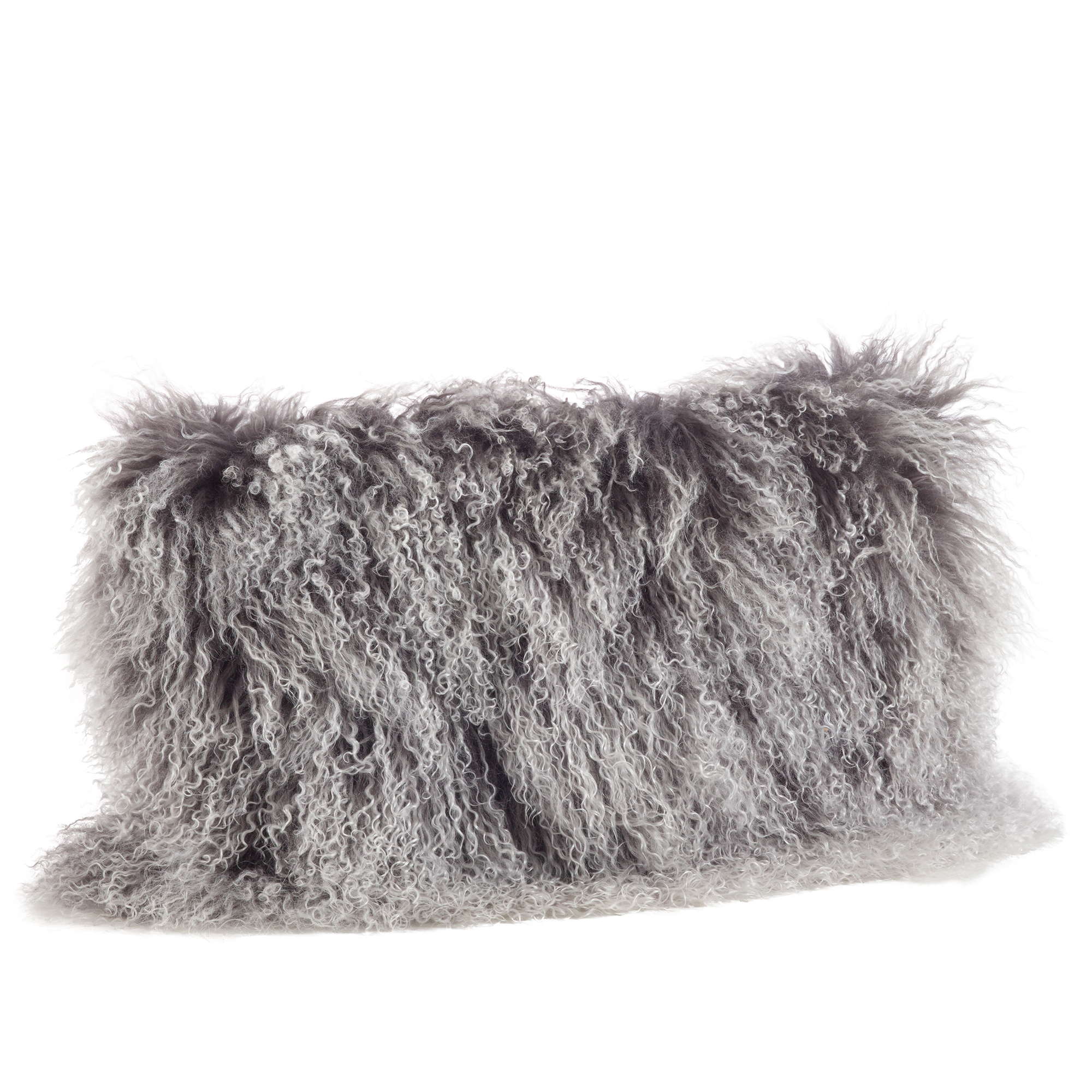 """Charcoal Color Genuine Mongolian Real Lamb Fur Decorative Throw Pillow - Polyester Filled, 12"""" X 20"""" Rectangular"""