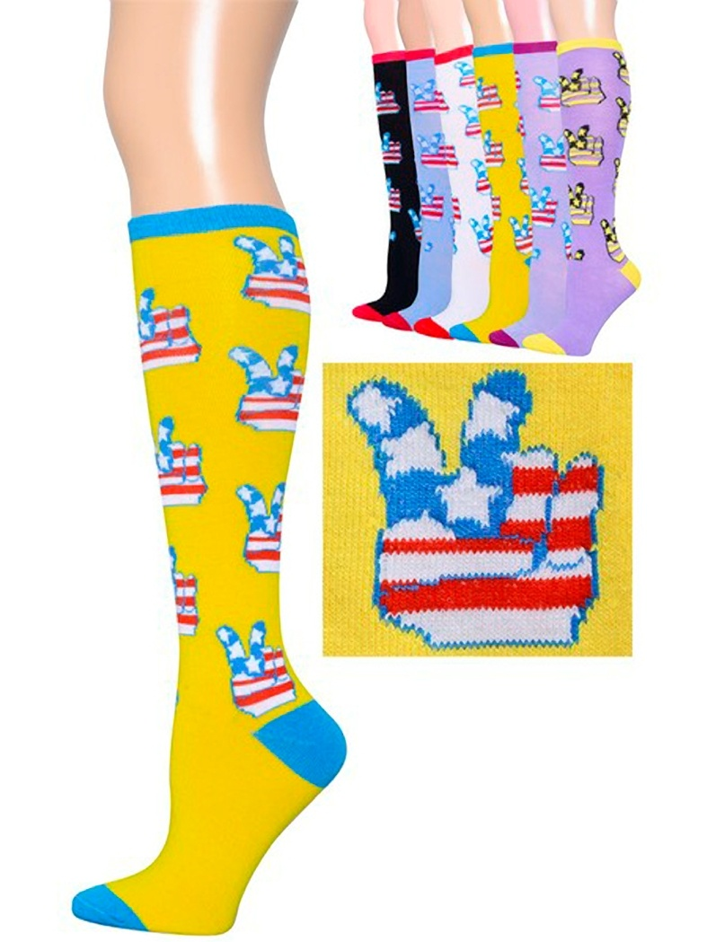 6 Pairs Peace Hand Sign-Knee High Socks