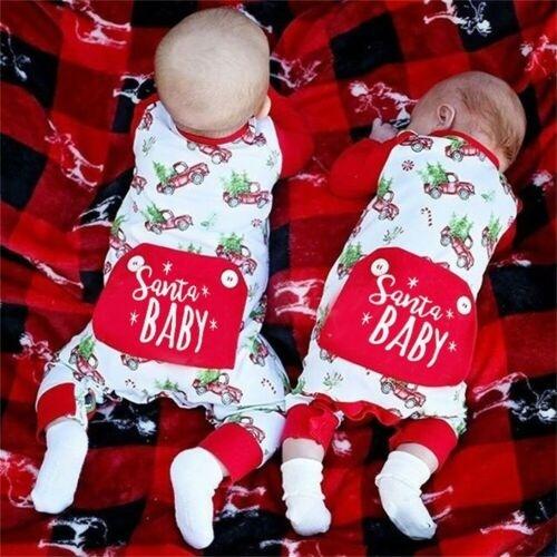 US Newborn Baby Boy Girl Christmas Santa Baby Romper Jumpsuit Bodysuit Clothes