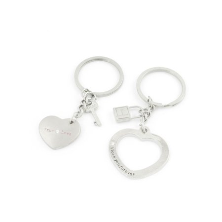 Pair Latest Style Lovers Pendant Metal Heart Key Ring Silver Tone