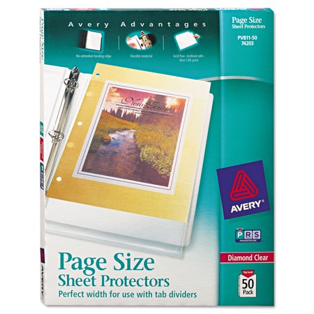 avery r diamond clear page size sheet protectors 50 pack 74203
