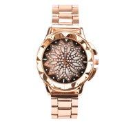 Watches for Women, EEEKit Fashion Womens Girls Crystal Shine Flower Design Rose Gold Metal Luxury Bracelet Watch