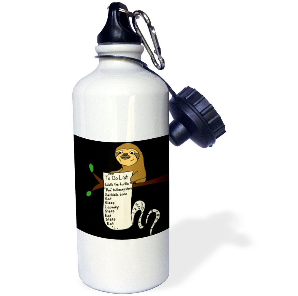 3dRose wb/_254031/_1 Funny Cute Sloth with Long To Do List Water Bottle