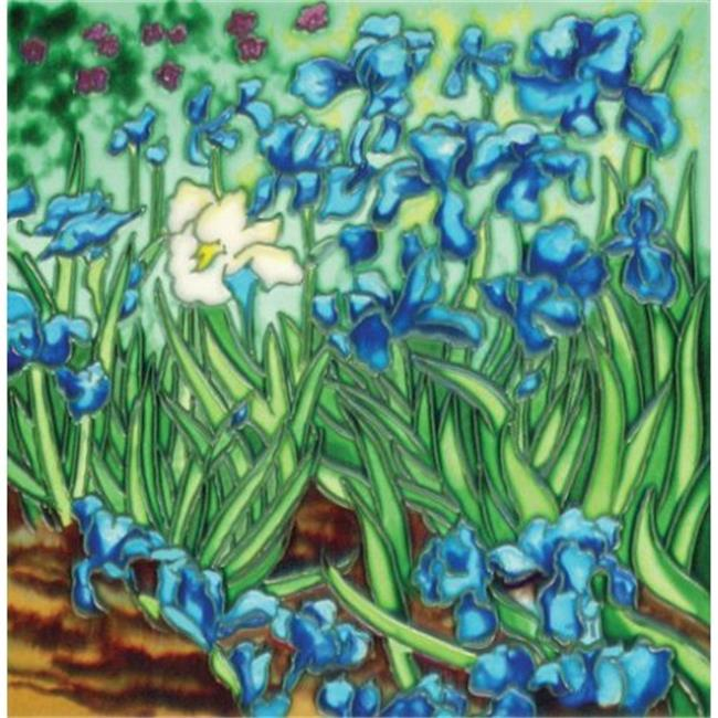 En Vogue BB-09 Post-Impressionist Irises by Van Gogh - Decorative Ceramic Art Tile - 8 inch x 8 inch