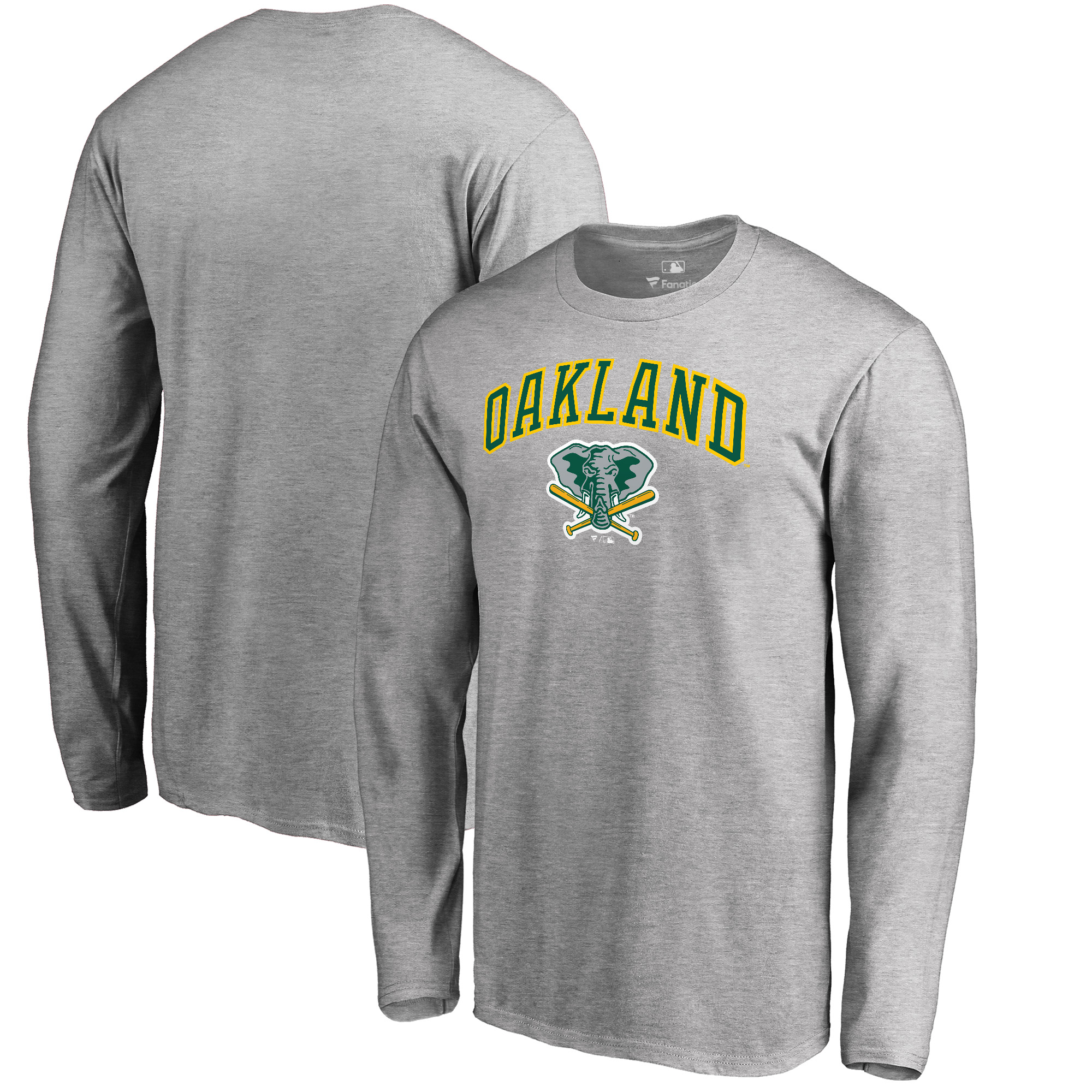 Oakland Athletics Fanatics Branded Big & Tall Cooperstown Collection Wahconah Long Sleeve T-Shirt - Heathered Gray