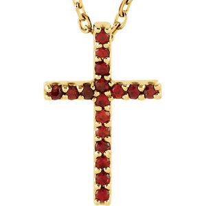 "14K Yellow Mozambique Garnet Cross 16"" Necklace by"