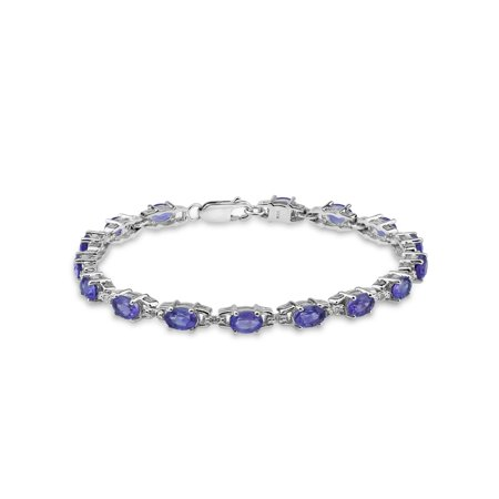 Amethyst and White Topaz Sterling Silver Oval Tennis Bracelet, 7.5""