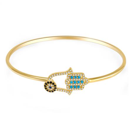 14kt Gold Over Brass Evil Eye Bangle Bracelet with Crystal Charms Bangles for Women