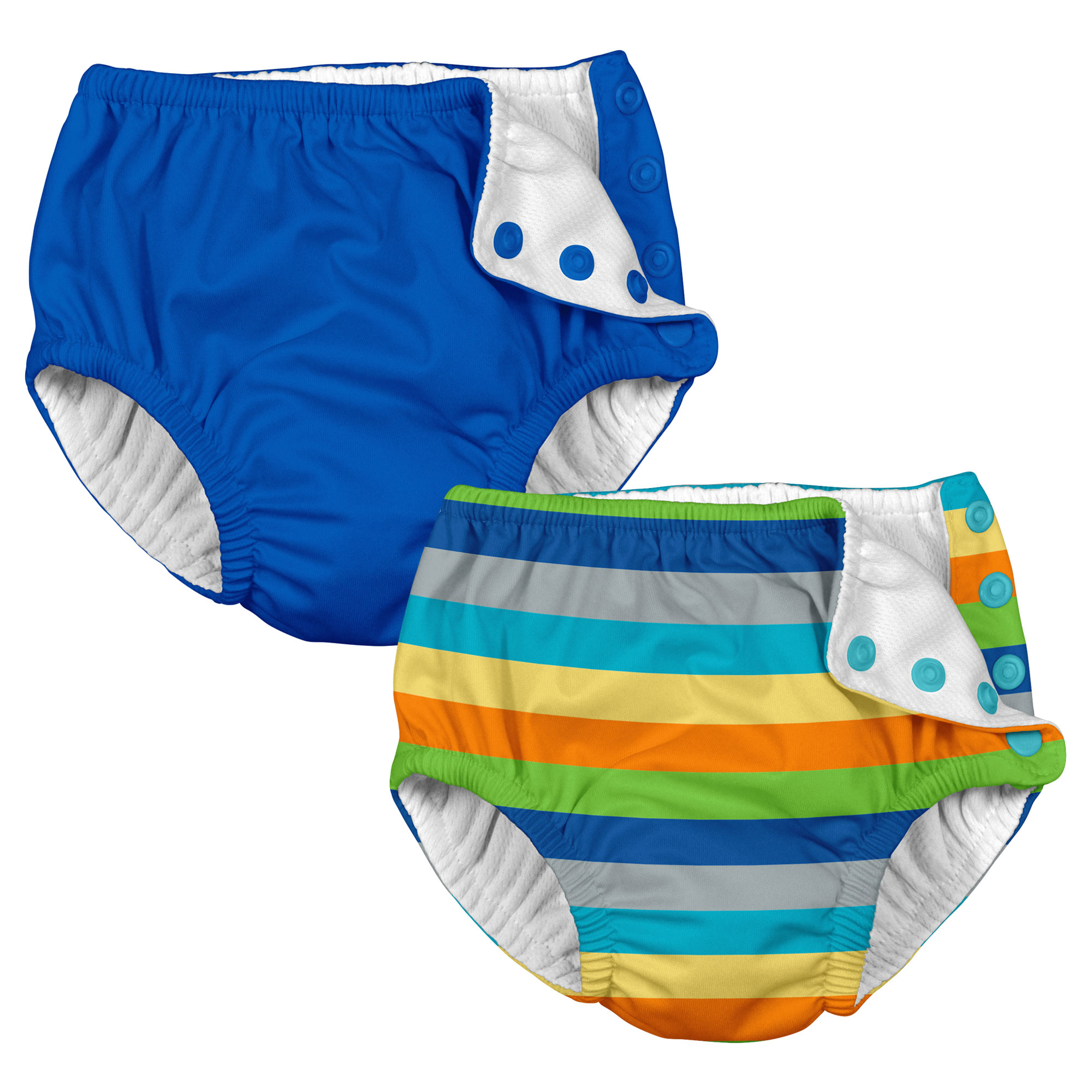 i play Baby and Toddler Snap Reusable Swim Diaper - Royal Blue and Stripes- 2 Pack