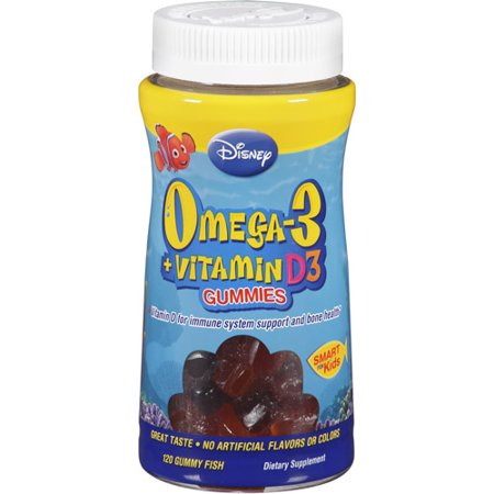 Disney omega 3 plus vitamin d3 gummy fish dietary for Fish oil vitamin d3