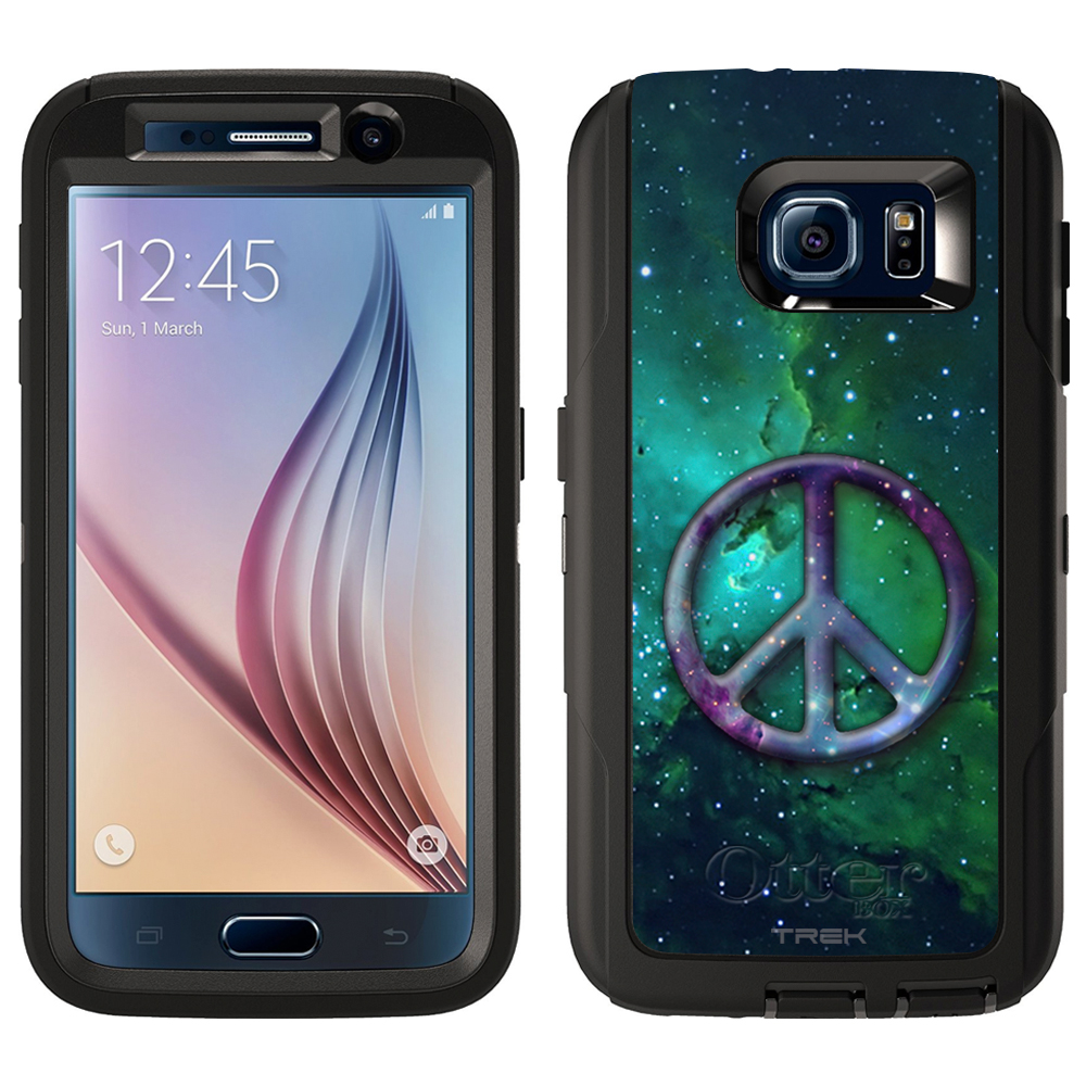 SKIN DECAL FOR Otterbox Defender Samsung Galaxy S6 Case - Peace on Nebula Green DECAL, NOT A CASE