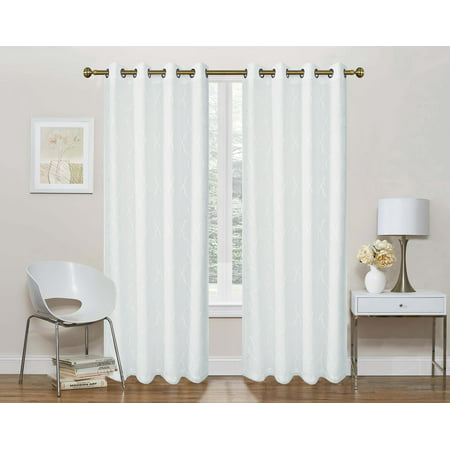 2 Pack: Regal Home Collections Geo Lattice Semi Sheer Grommet Top Curtain Panels With a Satin Backing For Privacy - White, 95 in. Long (Lattice Privacy Panels)