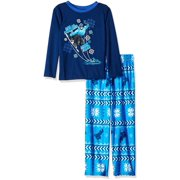 Komar Kids Boys' Pajama Long Sleeve Top and Lounge Pants 2 Piece Sleepwear Set, Blue, Size: 4