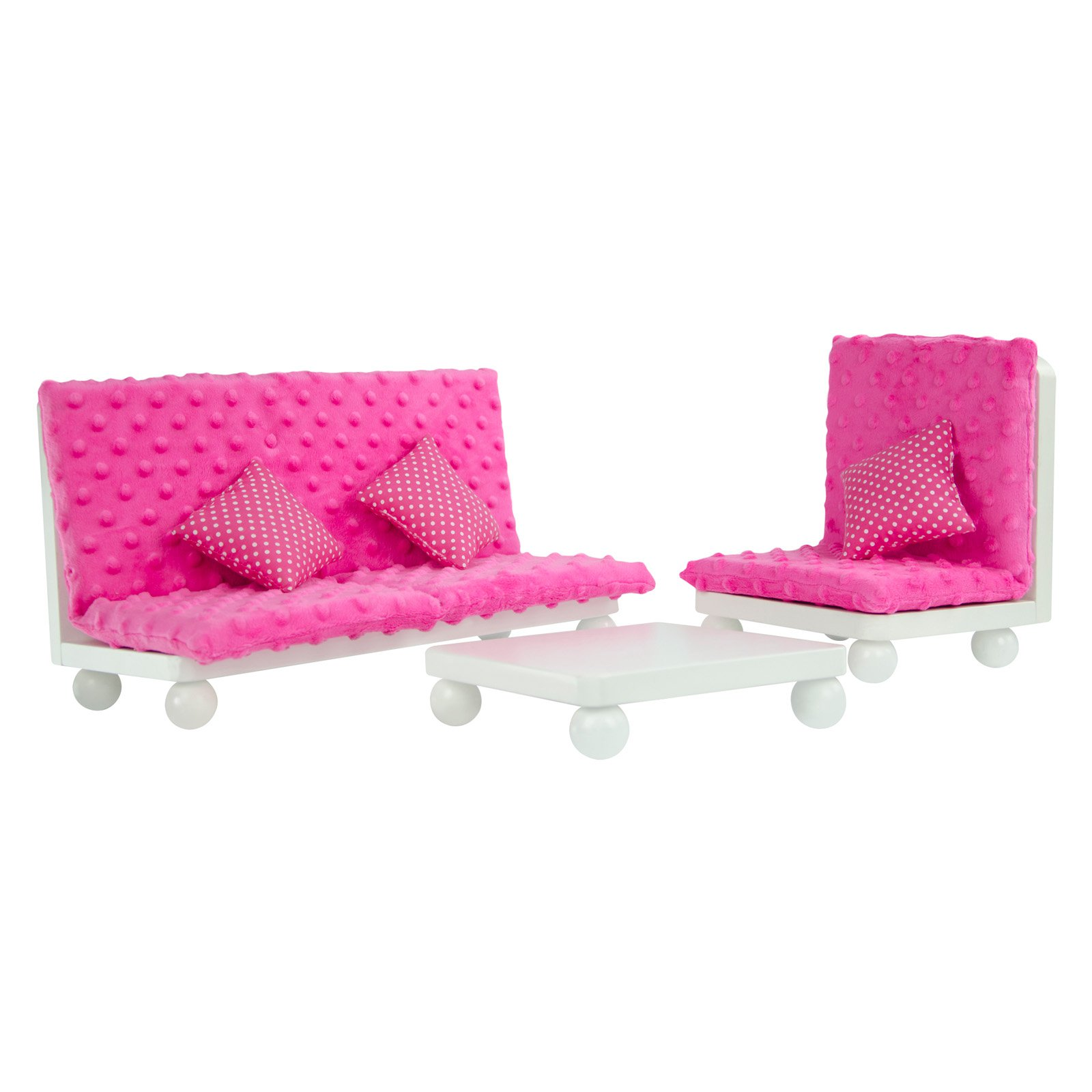 Olivia's Little World Princess Living Room Lounge Set with Pink Cushion Wooden 18 inch Doll Furniture by Teamson