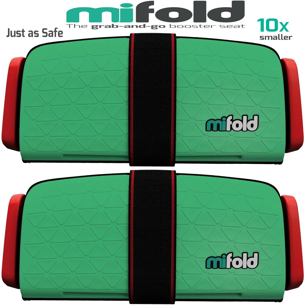Mifold 2-Pack MF01-US/GRN Grab-and-Go Car Booster Seat (Lime Green)