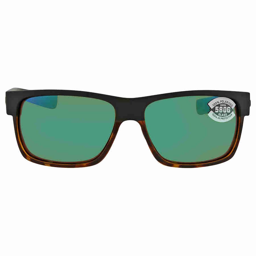 Green Mirror 580G Matte Black//Shiny Tortoise Frame Costa Del Mar Costa Del Mar HFM181OGMGLP Half Moon Green Mirror 580G Matte Black//Shiny Tortoise Frame Half Moon Large