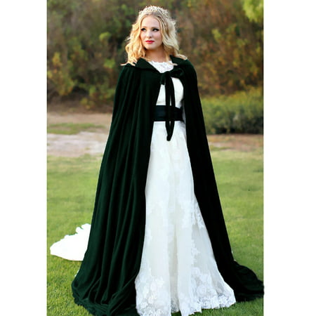 Halloween Hooded Cloak Velvet Witches Princess Death Long Cape Adult Kids Costume Cosplay - Long White Hooded Cloak