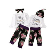 Toddler Newborn Kids Baby Little Big Sister Tops Romper Flare Sleeve Tops Floral Pants Outfits Sister Matching Set