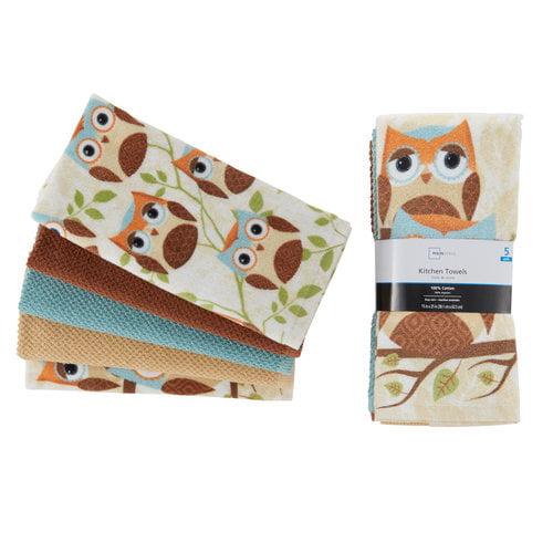 mainstays 5-piece owl kitchen towel set - walmart