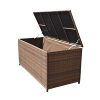 Style 4 ESPRESSO 64'' x 30'' x 30'' Large Wicker Storage Box Chest Deck Poolside Storing Patio Case