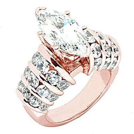 Harry Chad Enterprises 49677 3 Carat Solitaire Accents Marquise Center Diamond Engagement Ring - 14K Pink & Rose Gold - image 1 de 1