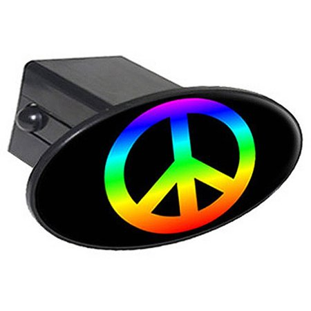"Peace Sign Rainbow - Gay Lesbian Pride - Flag 2"" Oval Tow Trailer Hitch Cover Plug Insert"