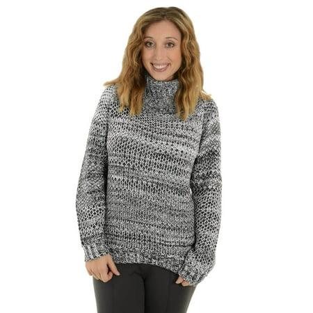 Women Chunky Knit Black White Cowl Neck Sweater Jay.E.E Hi Low Pullover Sweater