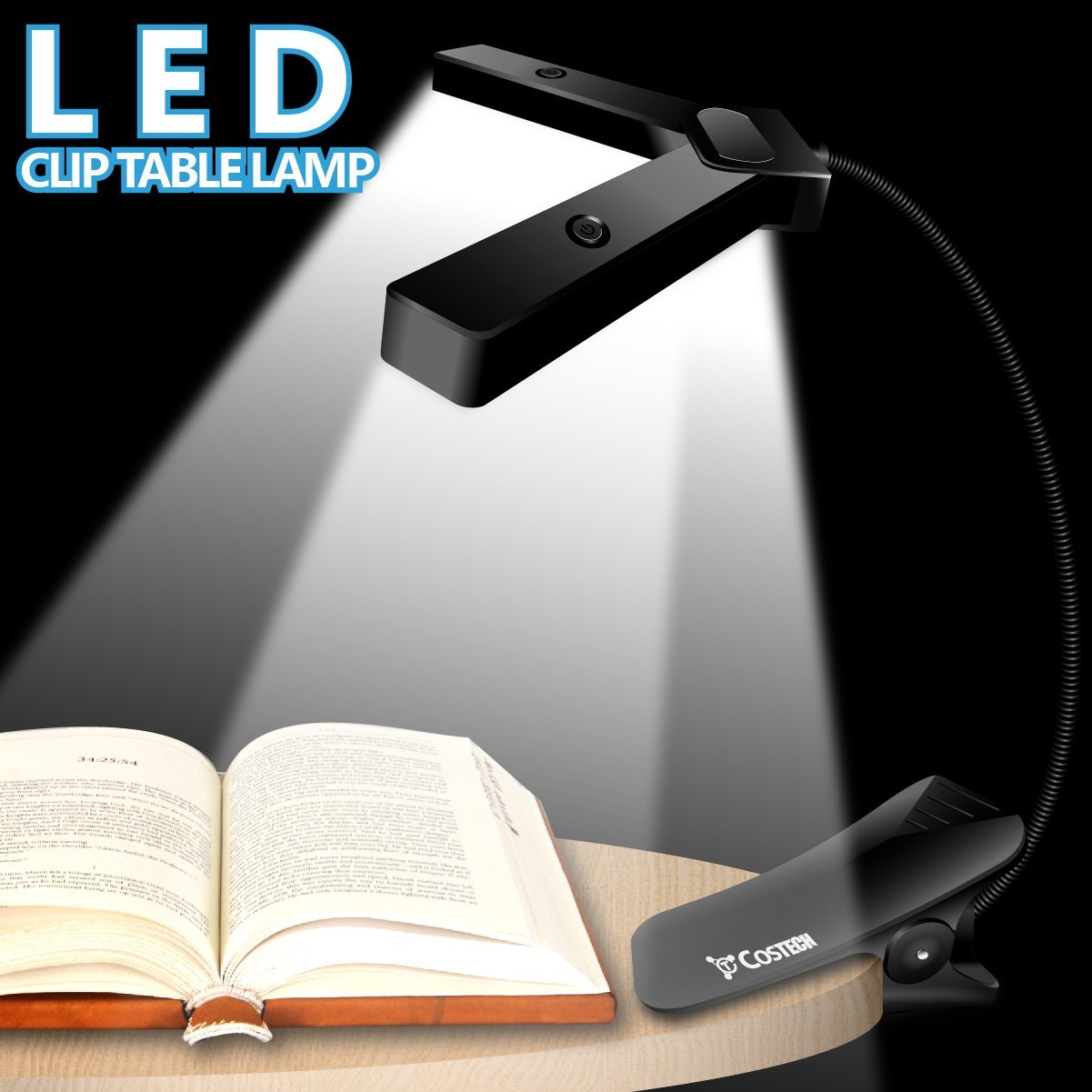 costech click on clamp light 10 leds portable desk reading lamp with adjustable flexible gooseneck - Gooseneck Lamp