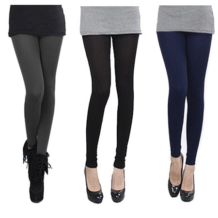 Falari 3-Pack Leggings Fleece Lined Cotton Thick Stretch High Quality Leggings Great for