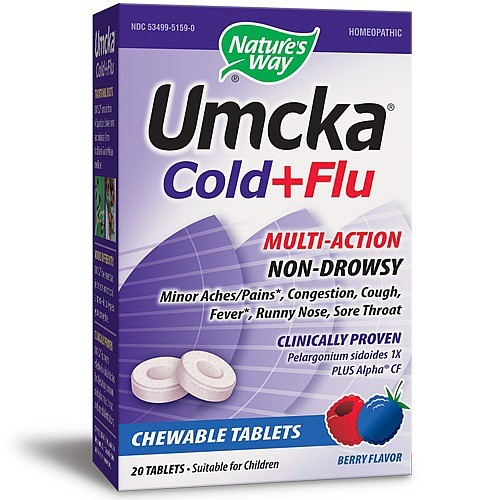Nature's Way Umcka Cold+Flu Chewable Tablets Berry Flavor - 20 CT