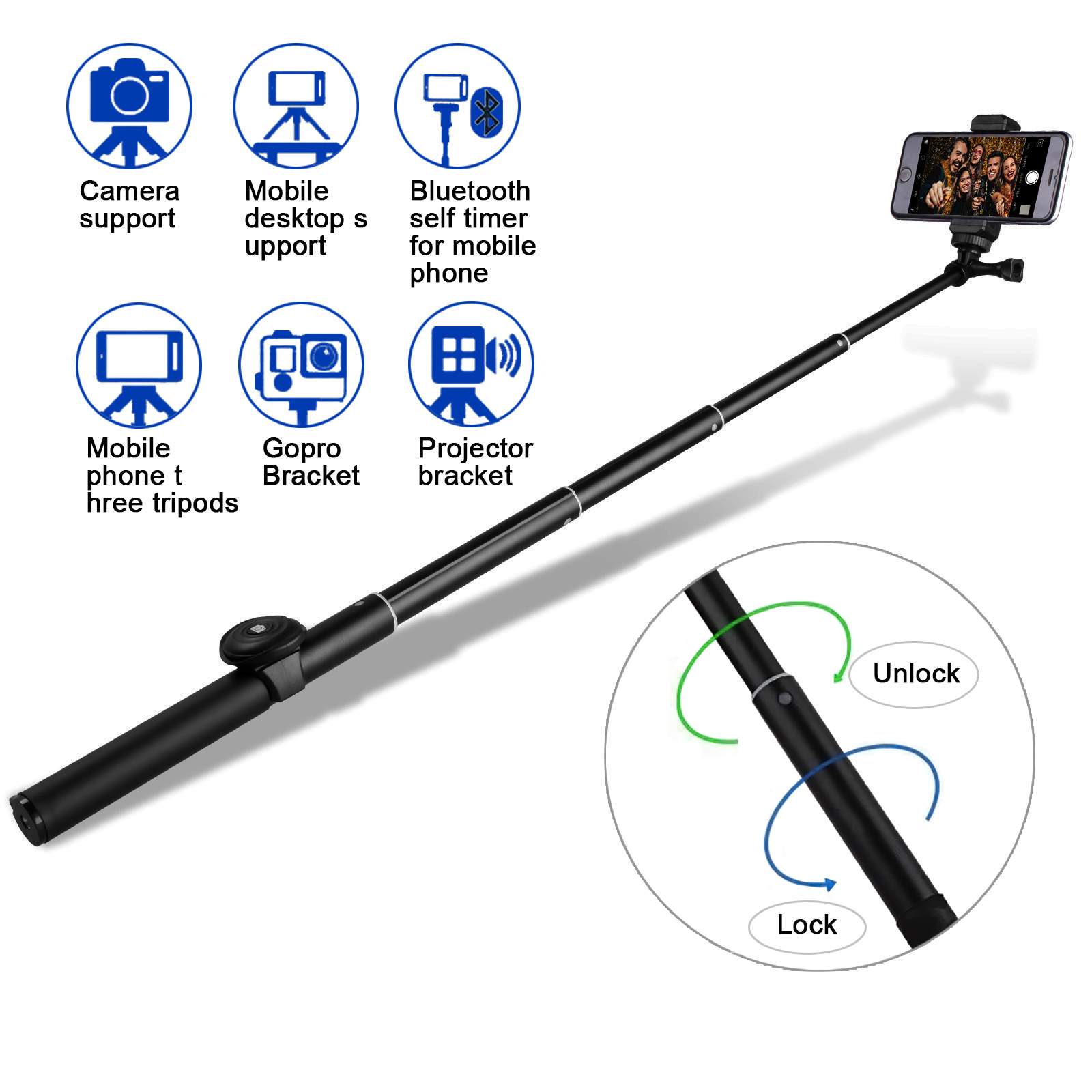 Bluetooth Selfie Stick, M.Way Extendable Selfie Stick 360 ° Rotation Monopod with Detachable Remote Control and Phone Camera Tripod for Cameras and More Smartphones