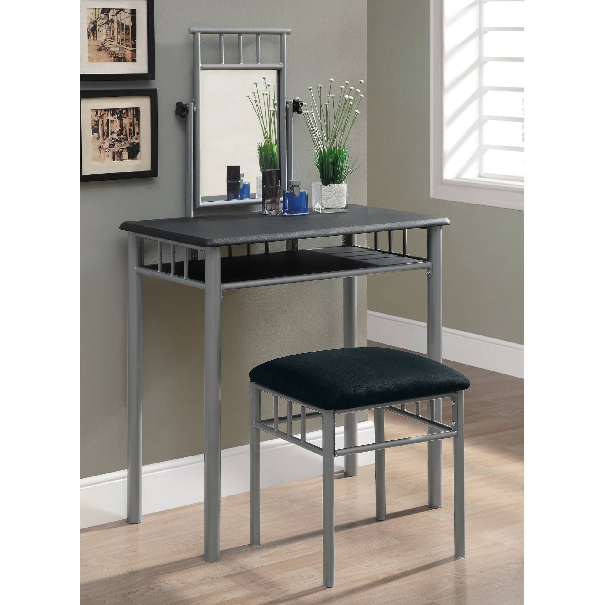 Monarch Vanity Set 2Pcs Set / Black / Silver Metal - Walmart