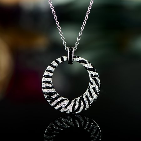 Rhodium Plated Crystal Filigree (Rhodium Plated Zebra Print Swarovski Crystal Pendant Necklace)