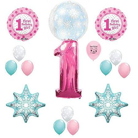 Pink Winter One-Derland 1st Birthday Party Balloon Decoration Kit (Winter Wonderland 1st Birthday Decorations)