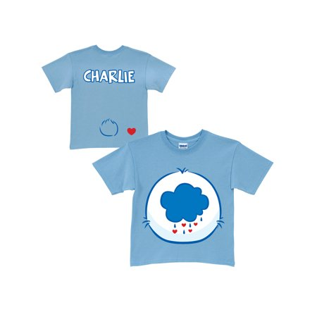 Personalized Care Bears Grumpy Bear Belly Badge Youth Light Blue T-Shirt](Grumpy Care Bear)