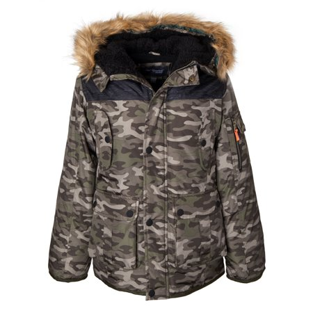 Sportoli Boys' Heavy Fleece Lined Winter Puffer Parka Coat Jacket Fur Trim Hood - Green Camo (Size 7)