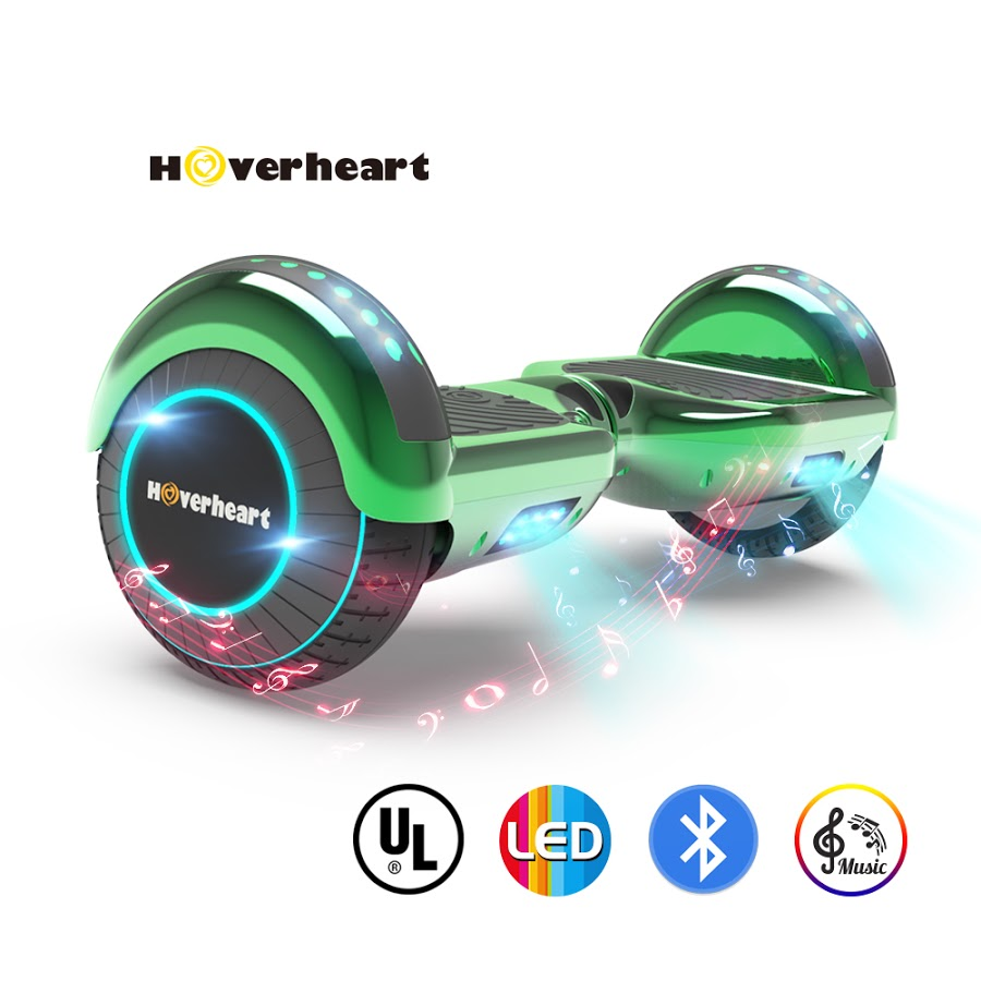 "Hoverboard UL2272 Certificatd 6.5"" LED Self Balancing Flash Wheel Electric Scooter Chrome Green"